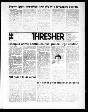 Primary view of object titled 'The Rice Thresher (Houston, Tex.), Vol. 71, No. 6, Ed. 1 Friday, September 23, 1983'.