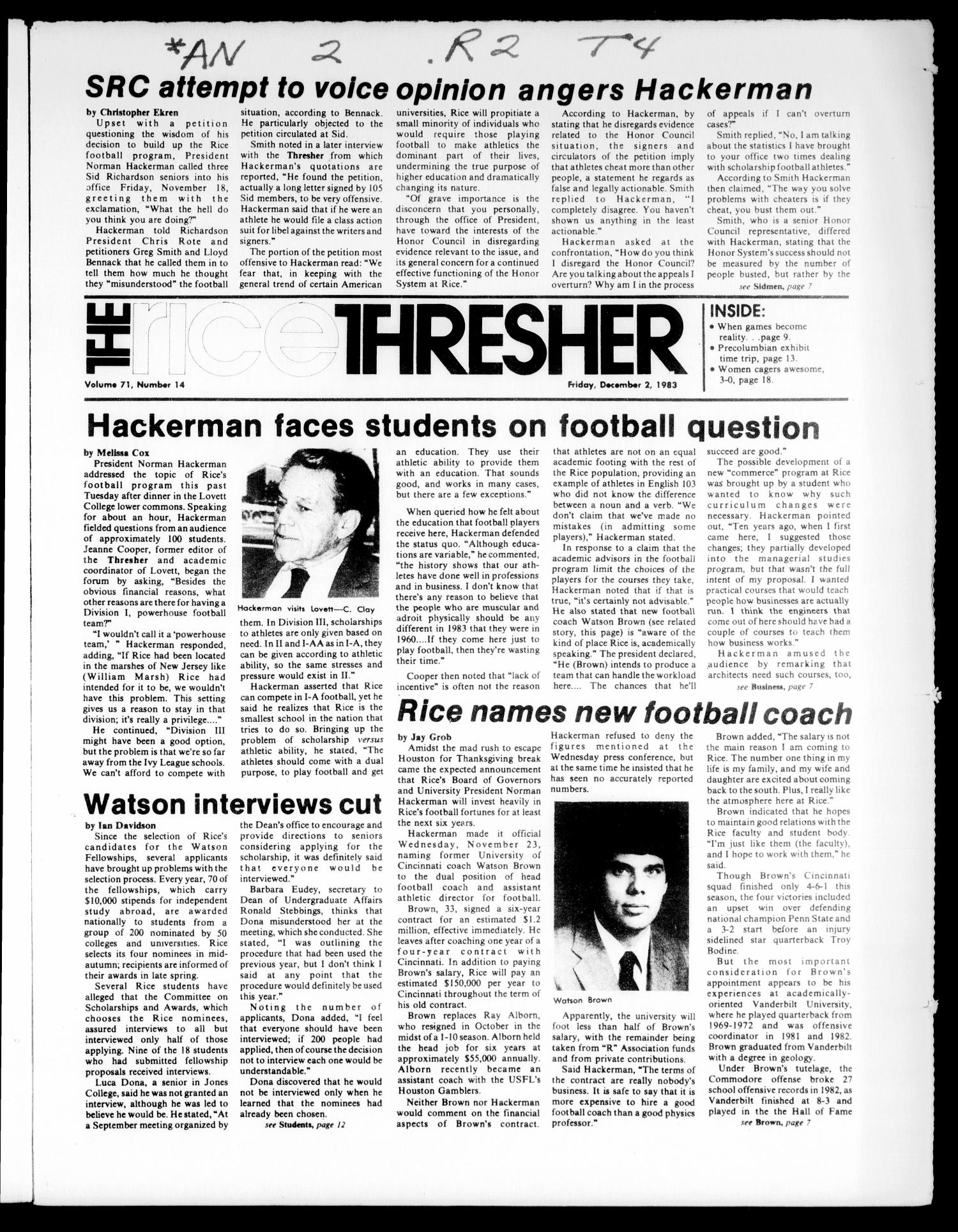 The Rice Thresher (Houston, Tex.), Vol. 71, No. 14, Ed. 1 Friday, December 2, 1983                                                                                                      [Sequence #]: 1 of 24