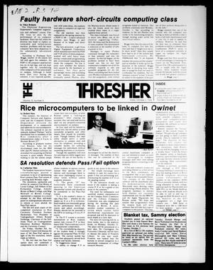 Primary view of object titled 'The Rice Thresher (Houston, Tex.), Vol. 72, No. 8, Ed. 1 Friday, October 5, 1984'.