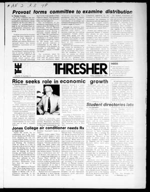 Primary view of object titled 'The Rice Thresher (Houston, Tex.), Vol. 72, No. 10, Ed. 1 Friday, October 26, 1984'.
