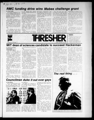 The Rice Thresher (Houston, Tex.), Vol. 72, No. 17, Ed. 1 Friday, January 18, 1985