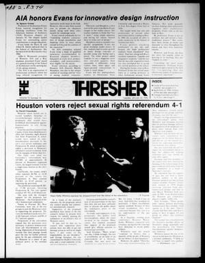 Primary view of object titled 'The Rice Thresher (Houston, Tex.), Vol. 72, No. 18, Ed. 1 Tuesday, January 22, 1985'.