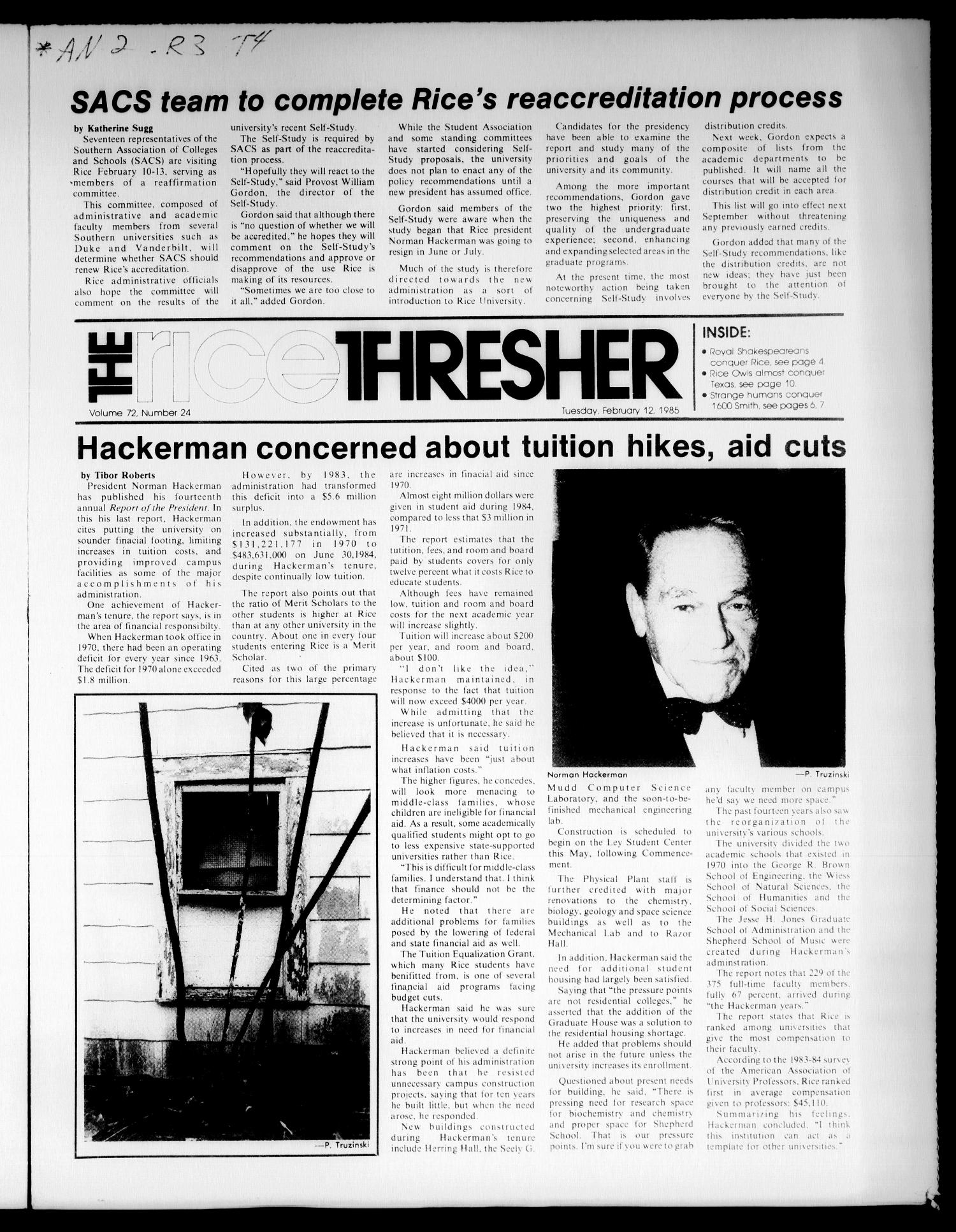 The Rice Thresher (Houston, Tex.), Vol. 72, No. 24, Ed. 1 Tuesday, February 12, 1985                                                                                                      [Sequence #]: 1 of 12