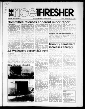 Primary view of object titled 'The Rice Thresher (Houston, Tex.), Vol. 74, No. 14, Ed. 1 Friday, November 21, 1986'.