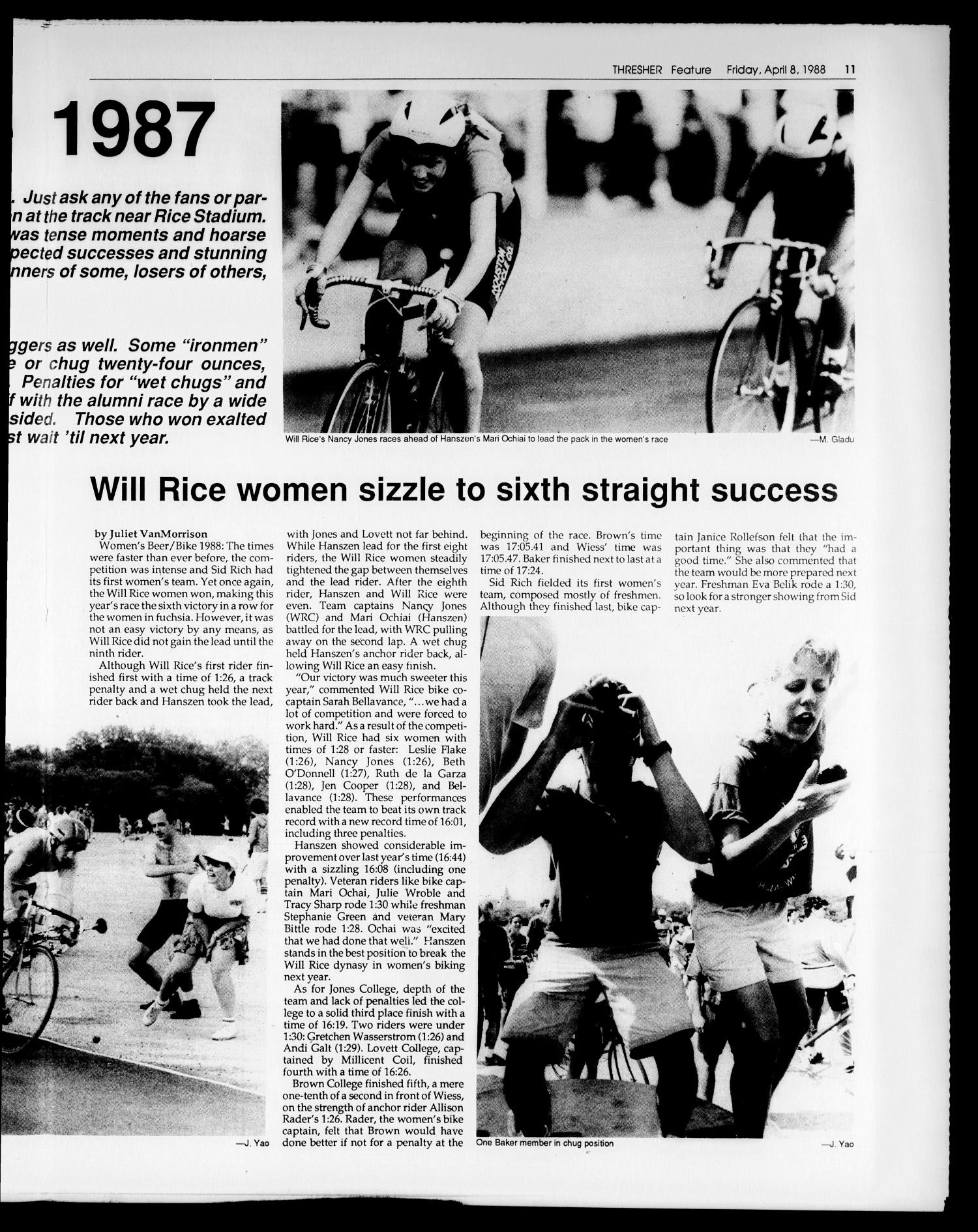 The Rice Thresher (Houston, Tex.), Vol. 75, No. 25, Ed. 1 Friday, April 8, 1988                                                                                                      [Sequence #]: 11 of 24
