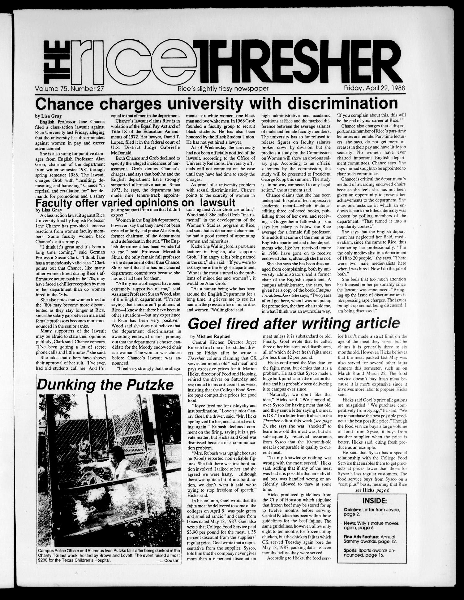 The Rice Thresher (Houston, Tex.), Vol. 75, No. 27, Ed. 1 Friday, April 22, 1988                                                                                                      [Sequence #]: 1 of 20