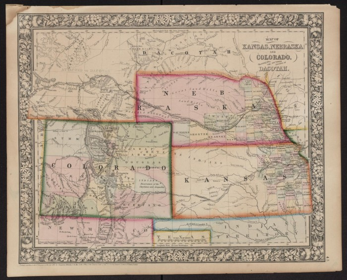 Map Of Kansas Nebraska And Colorado Showing Also The Sourthern