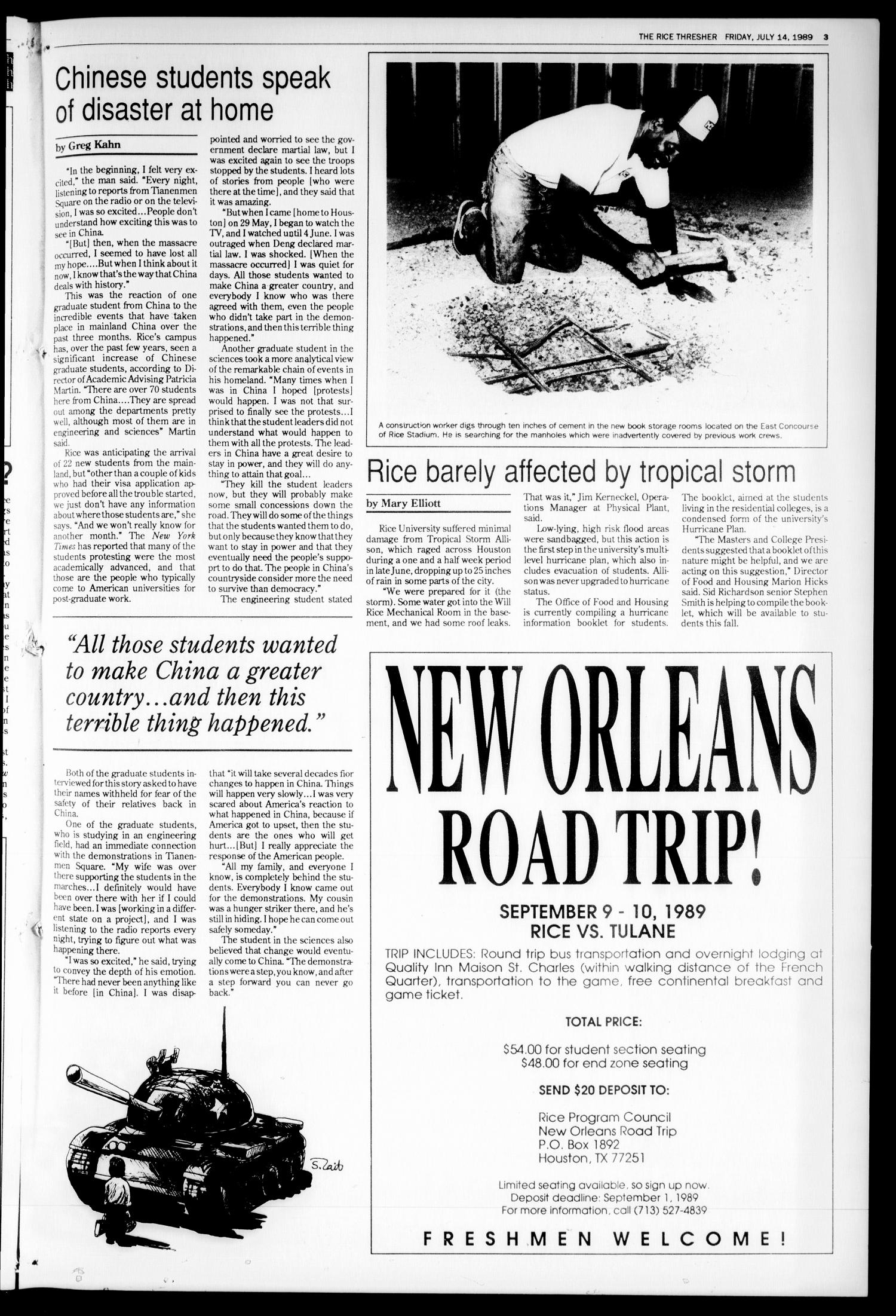 The Rice Thresher (Houston, Tex.), Vol. 77, No. 1, Ed. 1 Friday, July 14, 1989                                                                                                      [Sequence #]: 3 of 8