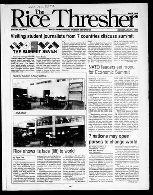 Primary view of object titled 'The Rice Thresher (Houston, Tex.), Vol. 78, No. 1, Ed. 1 Monday, July 9, 1990'.