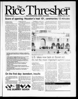Primary view of object titled 'The Rice Thresher (Houston, Tex.), Vol. 78, No. 2, Ed. 1 Tuesday, July 10, 1990'.