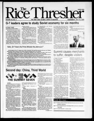 Primary view of object titled 'The Rice Thresher (Houston, Tex.), Vol. 78, No. 3, Ed. 1 Wednesday, July 11, 1990'.
