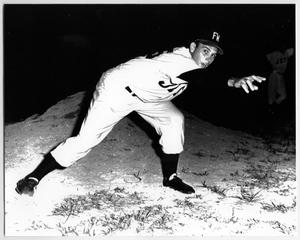 Primary view of object titled '[Photograph of Joe Kaiser Playing Baseball]'.