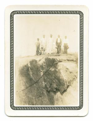 Primary view of object titled '[Photograph of a Group Standing on a Rockey Ledge]'.