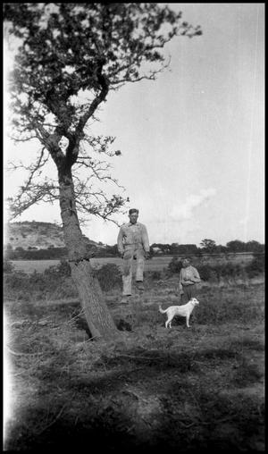 Primary view of object titled '[Photograph of Gus and Emil Jentsch with a Dog]'.