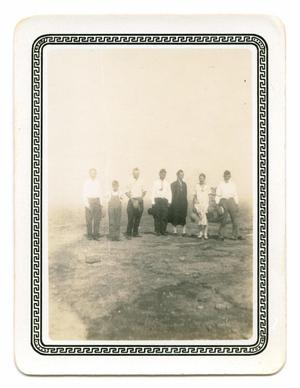 Primary view of object titled '[Photograph of a Group of People Standing on Rock]'.