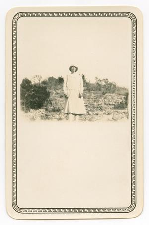 Primary view of object titled '[Photograph of Ana Jentsch on a Hill]'.