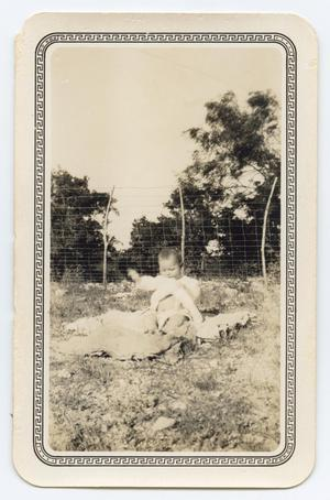 Primary view of object titled '[Photograph of a Baby Sitting Outside]'.