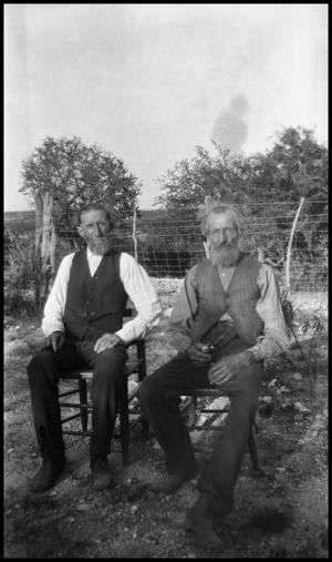 Primary view of object titled '[Photograph of Gus Jentsch and D. Kircholh]'.