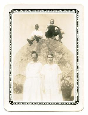 Primary view of object titled '[Photograph of a Group at Balance Rock]'.