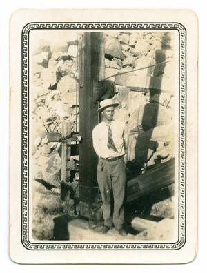 Primary view of object titled '[Photograph of a Man at a Granite Quarry]'.