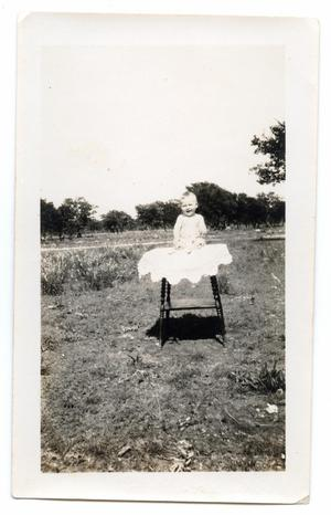 Primary view of object titled '[Photograph of a Baby Sitting Outside on a Table]'.