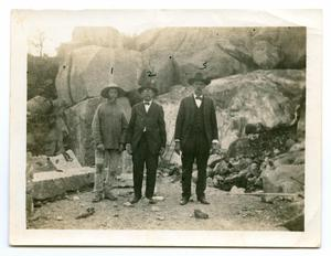 [Photograph of Three Men at a Granite Quarry on Bear Mountain]