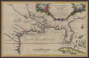 Primary view of Les costes aux environs de la Riviere de Misisipi : decouvertes par Mr. de la Salle en 1683 et reconnues par Mr. le Chevallier dÍberville en 1698 et 1699 / par N. de Fer ; Vincent de Ginville, sculpsit.