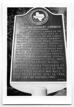 Primary view of object titled '[Photograph of the First Methodist Church State Historical Marker]'.