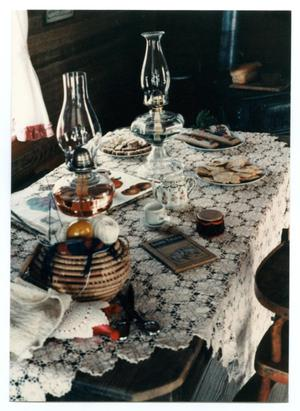 Primary view of object titled '[Photograph of a Table in the Pioneer Museum]'.