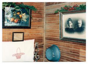Primary view of object titled '[Photograph of a Decorated Wall in the Pioneer Museum]'.