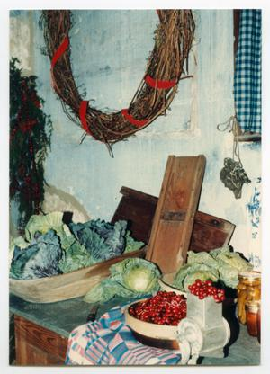 Primary view of object titled '[Photograph of Christmas Decorations in the Pioneer Museum]'.