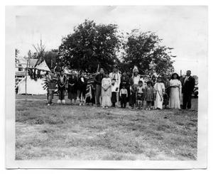 Primary view of object titled '[Photograph of the Comanche Tribe at Centennial Celebration]'.