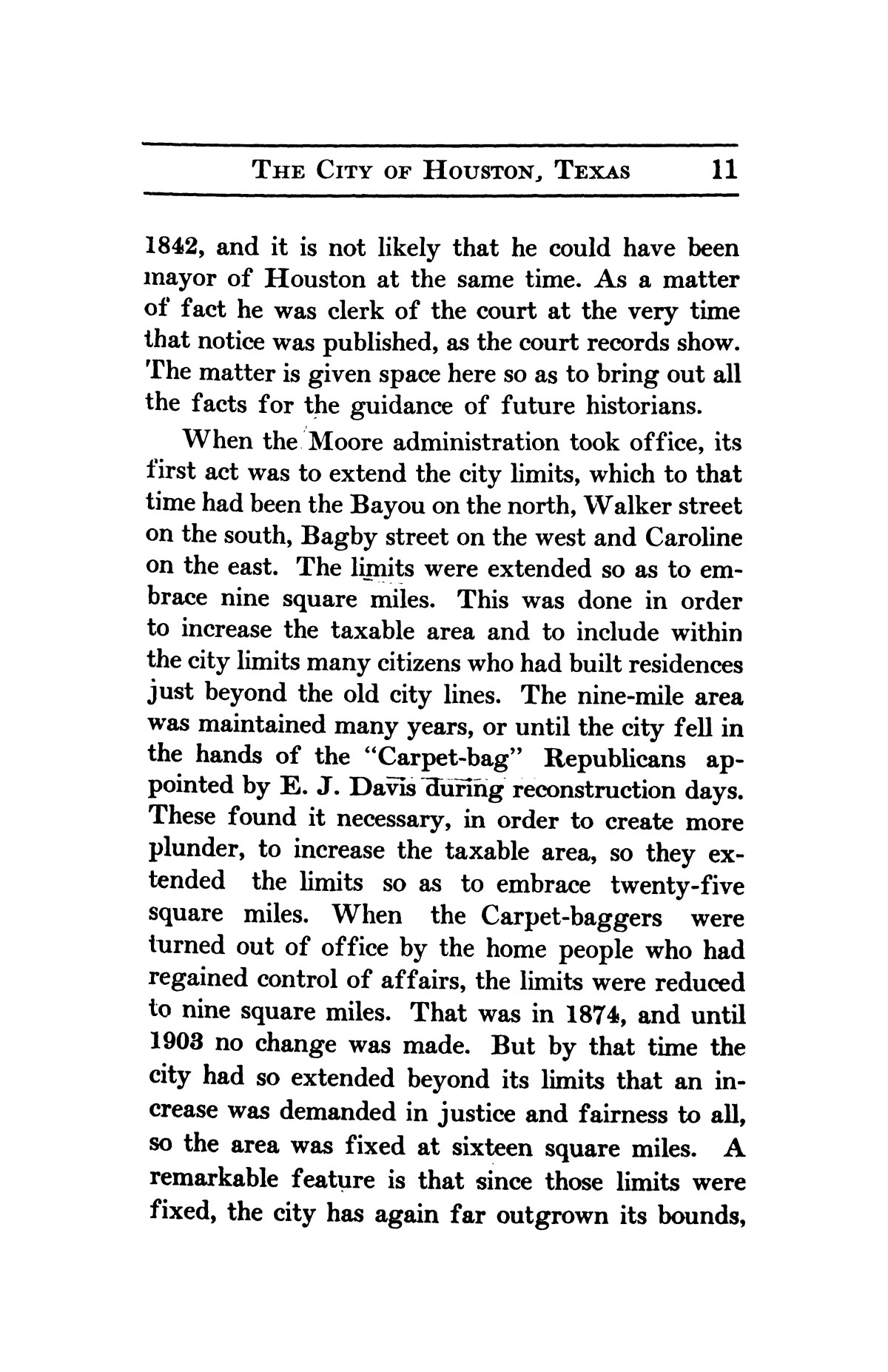 A thumb-nail history of the city of Houston, Texas, from its founding in 1836 to the year 1912                                                                                                      11