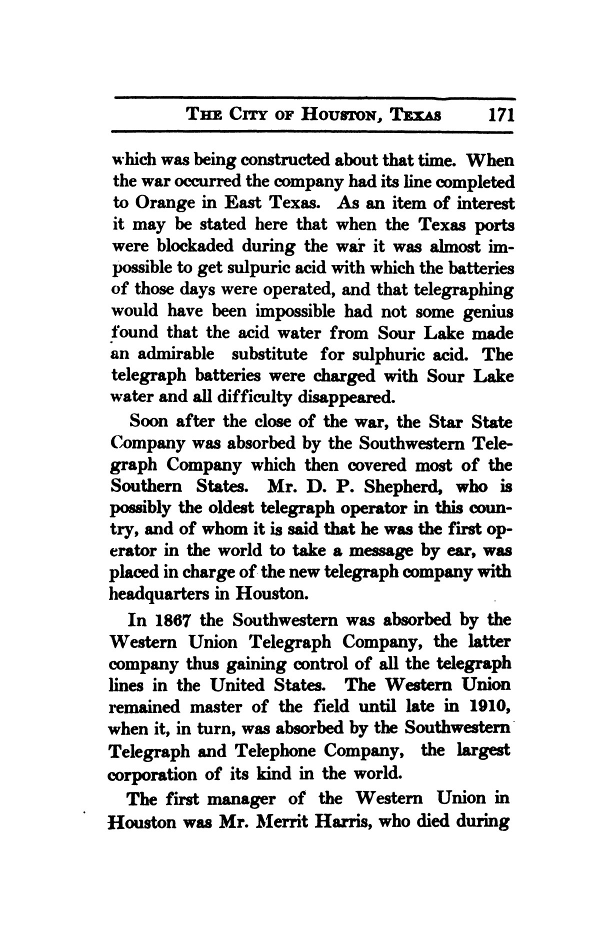 A thumb-nail history of the city of Houston, Texas, from its founding in 1836 to the year 1912                                                                                                      171