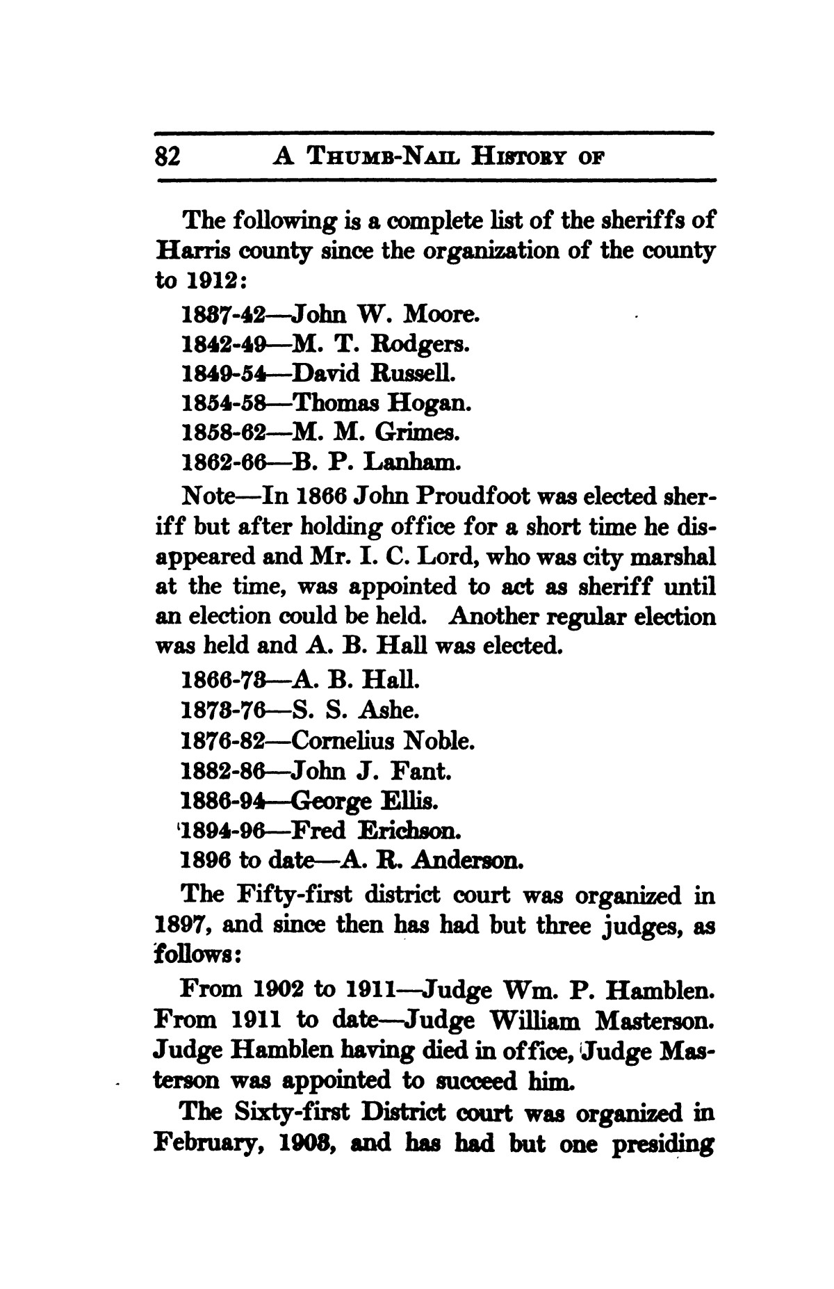 A thumb-nail history of the city of Houston, Texas, from its founding in 1836 to the year 1912                                                                                                      82