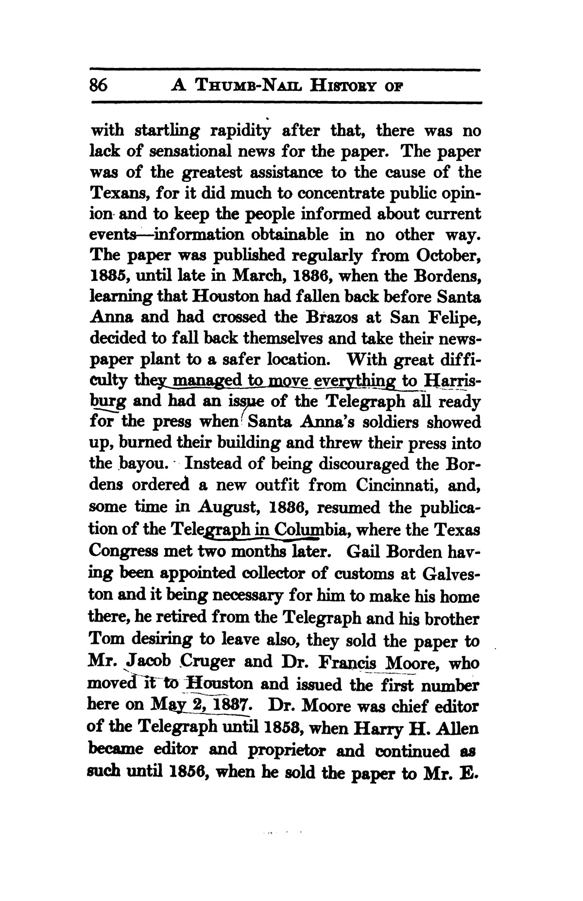 A thumb-nail history of the city of Houston, Texas, from its founding in 1836 to the year 1912                                                                                                      86