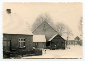 Primary view of object titled '[Brick Buildings in Snow]'.