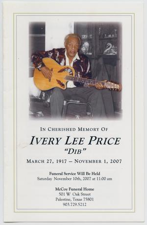Primary view of object titled '[Funeral Program for Ivery Lee Price, November 10, 2007]'.