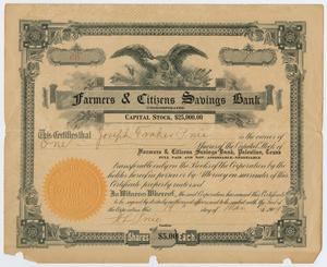 [Stock Share Certificate From Farmers & Citizens Savings Bank]