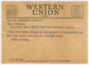 Primary view of object titled '[Western Union Telegram from James McGuire to Vera Cummings]'.