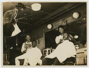 Primary view of object titled '[Young African-American Men in a Barbershop]'.