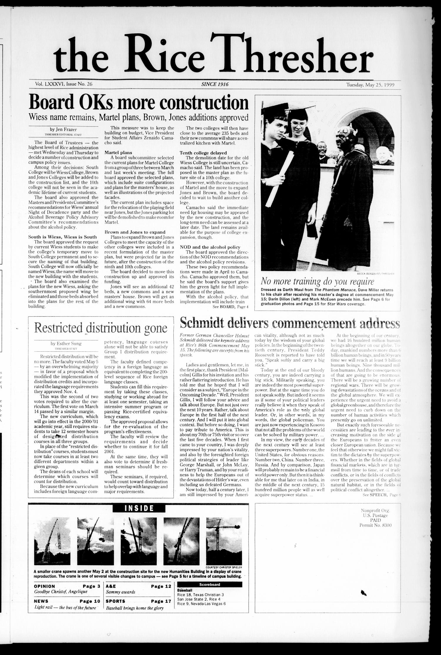 The Rice Thresher (Houston, Tex.), Vol. 86, No. 26, Ed. 1 Tuesday, May 25, 1999                                                                                                      [Sequence #]: 1 of 20