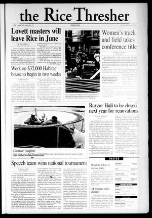 The Rice Thresher (Houston, Tex.), Vol. 87, No. 19, Ed. 1 Friday, March 3, 2000