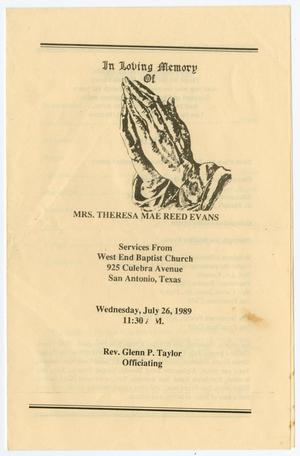 [Funeral Program for Theresa Mae Reed Evans, July 26, 1989]
