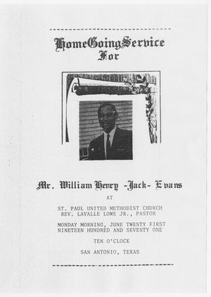 [Funeral Program for William Henry Evans, June 21, 1971]