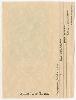 Primary view of object titled '[Funeral Program for Robert Lee Evans, August 30, 1991]'.