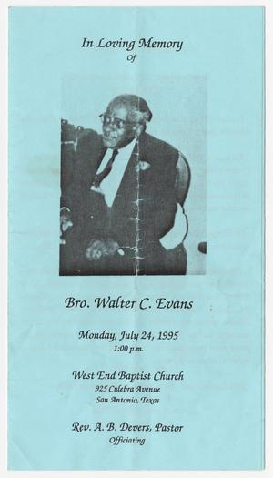 Primary view of object titled '[Funeral Program for Walter C. Evans, July 24, 1995]'.