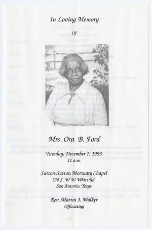 Primary view of object titled '[Funeral Program for Ora B. Ford, December 7, 1993]'.