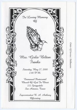 Primary view of object titled '[Funeral Program for Girlie Bilton Franks, May 27, 2000]'.