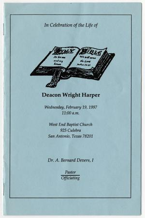 Primary view of object titled '[Funeral Program for Wright Harper, February 19, 1997]'.